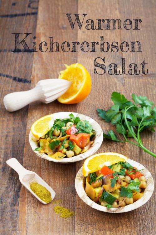 Bild für Warmer Kichererbsensalat mit Curry und Orange