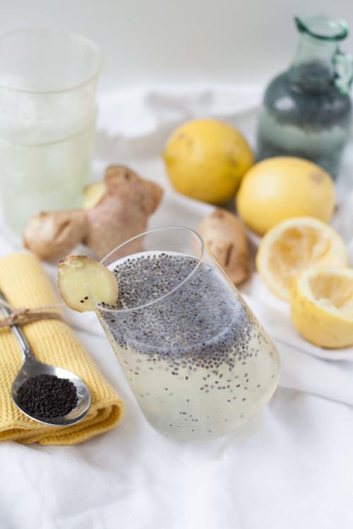 Bild für Ingwer-Zitronen-Drink mit Basilikumsamen