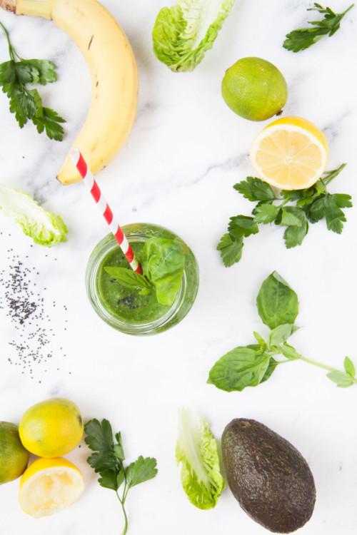 Bild für Green Smoothie mit Basilikumsamen