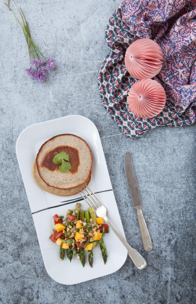Exotic Tomato-Mango Salsa meets Asparagus with Blini