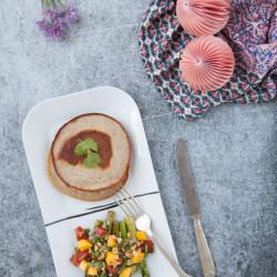 Bild für Exotic Mango-Salsa trifft auf Spargel mit Bliny