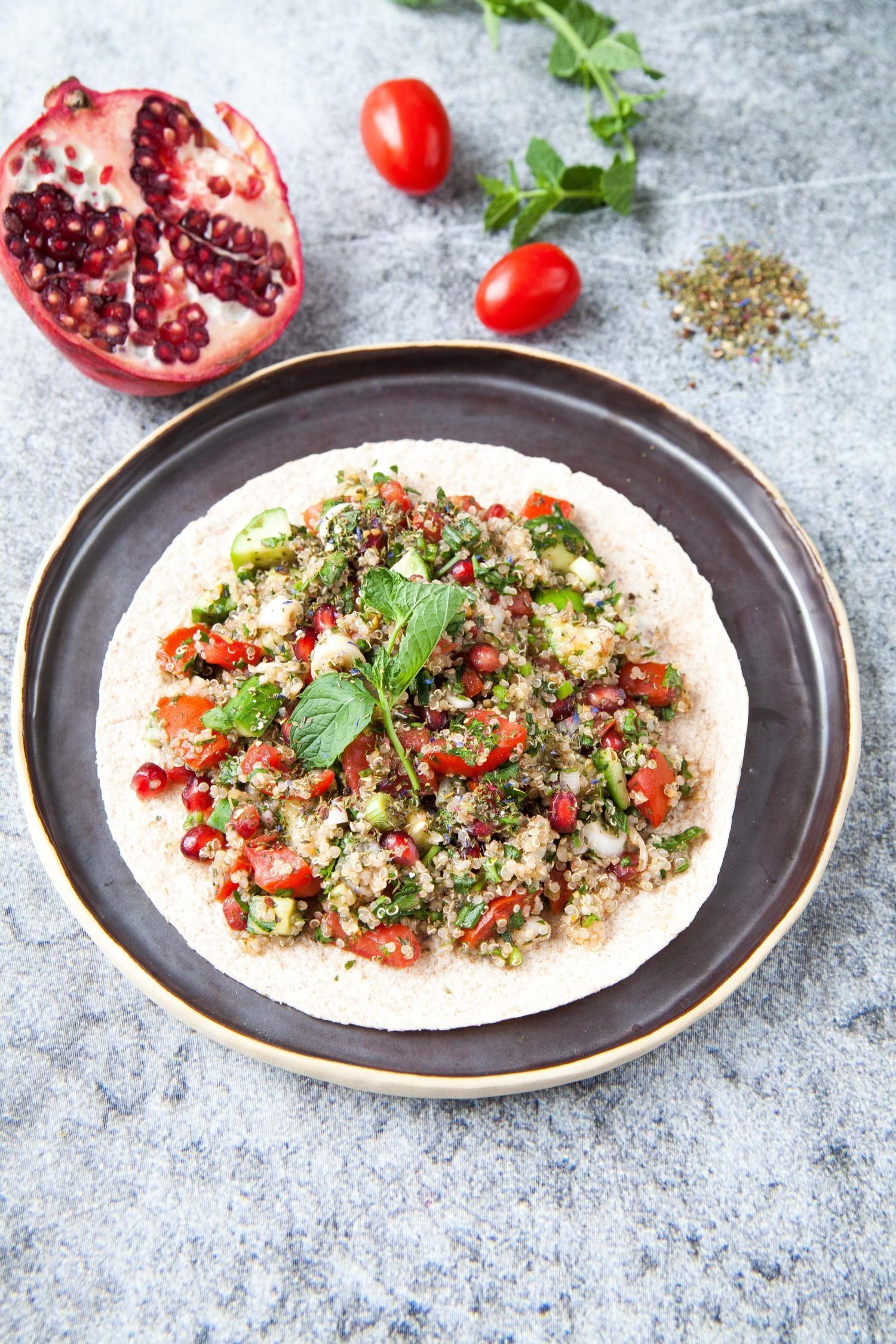 Quinoa Tabbouleh and Pomegranate Wrap