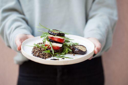Bild für Auberginen-Tomaten Stapel