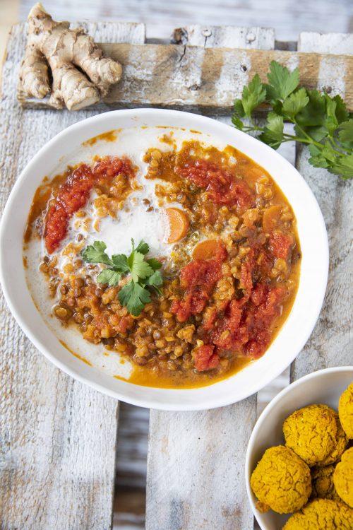 Bild für Linsen-Dal mit Curry Falafel